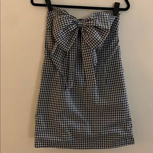 Gingham Mini Strapless Dress with Bow Accent